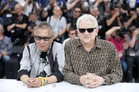 Japanese directorTakashi Miike and Producer Jeremy Thomas pose during the photocall for 'Mugen No Junin' (Blade of the Immortal) at the 70th annual Cannes Film Festival, in Cannes, France, XX May 2017. The movie is presented out of competition at the festival which runs from 17 to 28 May.