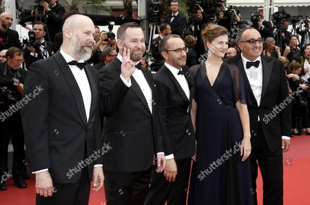 (R-L) Producer Alexander Rodnyansky,Russian actress Maryana Spivak, Russian director Andrey Zvyagintsev, Russian actor Alexeyv Rozin and Director of Photography Mikhail Krichman arrive for the screening of 'Nelyubov' (Loveless)  during the 70th annual Cannes Film Festival, in Cannes, France, 18 May 2017. The movie is presented in the Official Competition of the festival which runs from 17 to 28 May.