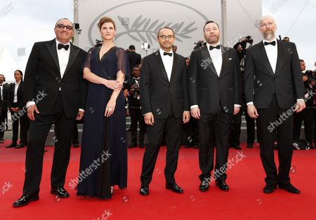 (L-R) Producer Alexander Rodnyansky,Russian actress Maryana Spivak, Russian director Andrey Zvyagintsev, Russian actor Alexeyv Rozin and Director of Photography Mikhail Krichman arrive for the screening of 'Nelyubov' (Loveless)  during the 70th annual Cannes Film Festival, in Cannes, France, 18 May 2017. The movie is presented in the Official Competition of the festival which runs from 17 to 28 May.