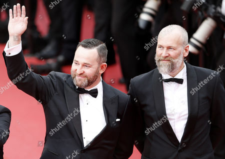 Russian actor Alexeyv Rozin (R) and Director of Photography Mikhail Krichman arrive for the screening of 'Nelyubov' (Loveless)  during the 70th annual Cannes Film Festival, in Cannes, France, 18 May 2017. The movie is presented in the Official Competition of the festival which runs from 17 to 28 May.