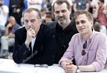 Actor Merab Ninidze (L), Hungarian director Kornel Mundruczo (C) and Hungarian actor Zsombor Jeger attend the photocall for Jupiter's Moon  during the 70th annual Cannes Film Festival, in Cannes, France, 19 May 2017. The movie is presented in the Official Competition of the festival which runs from 17 to 28 May.