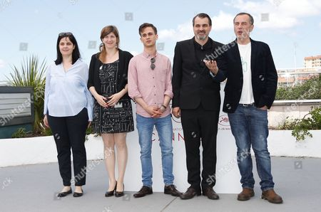 (L-R) Producer Viktoria Petranyi, Screenwriter Kata Weber Hungarian actor Zsombor Jeger, Hungarian director Kornel Mundruczo and Actor Merab Ninidze attends the photocall for Jupiter's Moon  during the 70th annual Cannes Film Festival, in Cannes, France, 19 May 2017. The movie is presented in the Official Competition of the festival which runs from 17 to 28 May.