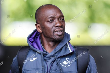 Swansea City assistant coach Claude Makelele arrives, ahead of the Premier League match between Swansea City and West Bromwich Albion at the Liberty Stadium, Swansea
