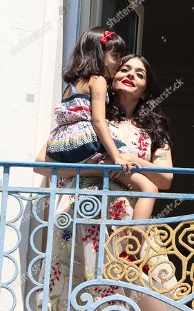 Stock Picture of Aishwarya Rai Bachchan and daughter Aaradhya Bachchan at the Martinez hotel