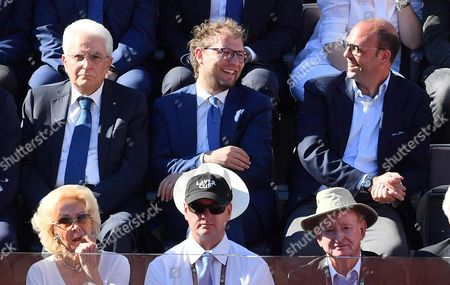 Italian President Sergio Mattarella (L), Italian Sport minister Luca Lotti (C), and Italian Minister of Foreign Affairs and International Cooperation, Angelino Alfano (R), during the men's final between Novak Djokovic of Serbia and Alexander Zverev of Germany in the Italian Open tennis tournament at the Foro Italico in Rome, Italy, 21 May 2017.