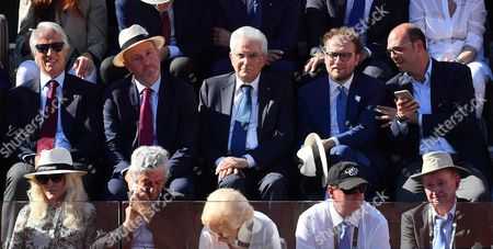 (L-R Top)  President of the Italian National Olympic Committee (CONI), Giovanni Malago', President of Italian Tennis Federation, Angelo Binaghi, Italian President Sergio Mattarella, Italian Sport minister Luca Lotti, and Italian Minister of Foreign Affairs and International Cooperation, Angelino Alfano, during the men's final between Novak Djokovic of Serbia and Alexander Zverev of Germany in the Italian Open tennis tournament at the Foro Italico in Rome, Italy, 21 May 2017.