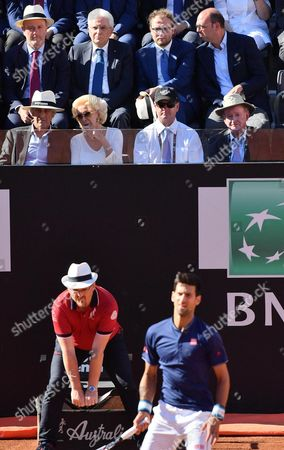 (L-R Top) President of Italian Tennis Federation, Angelo Binaghi, Italian President Sergio Mattarella, Italian Sport minister Luca Lotti, and Italian Minister of Foreign Affairs and International Cooperation, Angelino Alfano, during the men's final between Novak Djokovic of Serbia and Alexander Zverev of Germany in the Italian Open tennis tournament at the Foro Italico in Rome, Italy, 21 May 2017.