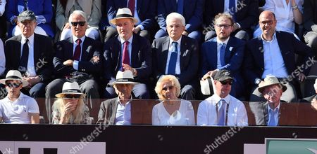 (L-R Top) Italian Economy Minister Pier Carlo Padoan, President of the Italian National Olympic Committee (CONI), Giovanni Malago', President of Italian Tennis Federation, Angelo Binaghi, Italian President Sergio Mattarella, Italian Sport minister Luca Lotti, and Italian Minister of Foreign Affairs and International Cooperation, Angelino Alfano, during the men's final between Novak Djokovic of Serbia and Alexander Zverev of Germany in the Italian Open tennis tournament at the Foro Italico in Rome, Italy, 21 May 2017.