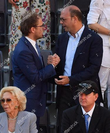 Italian Sport minister Luca Lotti (L), and Italian Minister of Foreign Affairs and International Cooperation, Angelino Alfano (R), during the men's final between Novak Djokovic of Serbia and Alexander Zverev of Germany in the Italian Open tennis tournament at the Foro Italico in Rome, Italy, 21 May 2017.