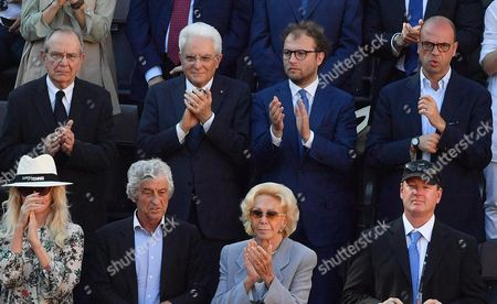 (L-R Top) Italian Economy Minister Pier Carlo Padoan, Italian President Sergio Mattarella, Italian Sport minister Luca Lotti, and Italian Minister of Foreign Affairs and International Cooperation, Angelino Alfano, during the men's final between Novak Djokovic of Serbia and Alexander Zverev of Germany in the Italian Open tennis tournament at the Foro Italico in Rome, Italy, 21 May 2017.