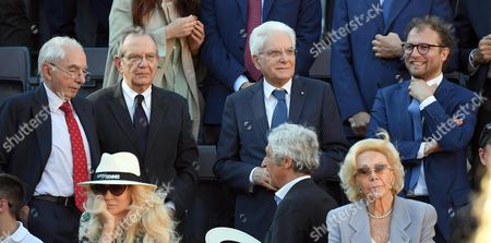 (L-R) Former Italian Prime Minister Giuliano Amato, Italian President Sergio Mattarella, Italian Sport minister Luca Lotti, Italian Minister of Foreign Affairs and International Cooperation, Angelino Alfano , during the men's final between Novak Djokovic of Serbia and Alexander Zverev of Germany in the Italian Open tennis tournament at the Foro Italico in Rome, Italy, 21 May 2017.