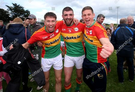 Carlow vs Wexford. Carlow's Shane Clarke, Sean Murphy and Brian Cawley celebrate after the game