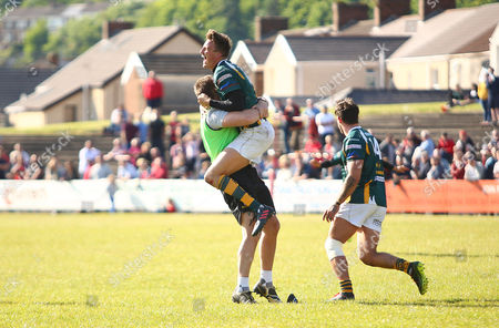 Matthew Jarvis of Merthyr celebrates at the final whistle