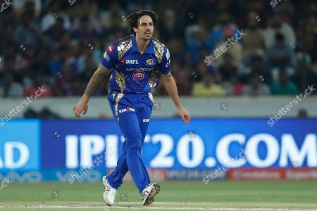Mumbai Indians' Mitchell Johnson gestures after a delivery during the Indian Premier League (IPL) cricket final match against Rising Pune Supergiant in Hyderabad, India