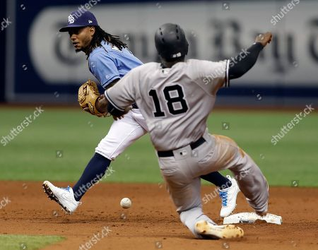 Michael Martinez, Didi Gregorius Tampa Bay Rays second baseman Michael Martinez drops the ball as New York Yankees' Didi Gregorius (18) slides in safely on a fielder's choice by Chris Carter during the eighth inning of a baseball game, in St. Petersburg, Fla. Martinez was charged with an error