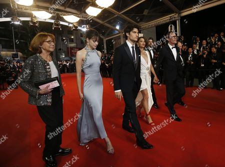 Stock Picture of (L-R) French-British actress Stacy Martin, French director Michel Hazanavicius, French actress Berenice Bejo, French actor Louis Garrel, French actor Micha Lescot, French actor Gregoy Gadebois and guest arrive for the premiere of  'Le Redoutable' (Redoubtable) during the 70th annual Cannes Film Festival, in Cannes, France, 21 May 2017. The movie is presented in the Official Competition of the festival which runs from 17 to 28 May.