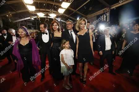 (L-R) Actress Hanna Schygulla, Actor Stefano Accorsi, Screenwriter Margaret Mazzantini, Actress Nicole Centanni, Italian director Sergio Castellito and Actress Jasmine Trinca arrive for the premiere of  'Le Redoutable' (Redoubtable) during the 70th annual Cannes Film Festival, in Cannes, France, 21 May 2017. The movie is presented in the Official Competition of the festival which runs from 17 to 28 May.