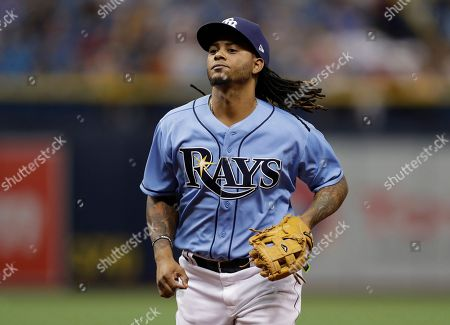 Tampa Bay Rays second baseman Michael Martinez during the eighth inning of a baseball game against the New York Yankees, in St. Petersburg, Fla