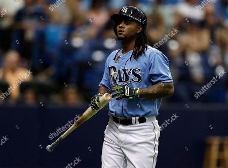 Tampa Bay Rays' Michael Martinez bats against the New York Yankees during the ninth inning of a baseball game, in St. Petersburg, Fla