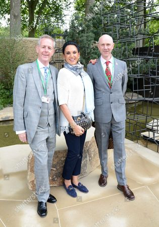 Stephen Woodhams, Dame Gail Ronson and guest at Wellington College Breaking Ground Garden sponsored by Darwin Property