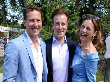 Brendan Cole, Anton Du Beke and Katie Derham at Wellington College Breaking Ground Garden sponsored by Darwin Property