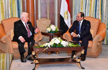 Stock Photo of Egyptian President Abdel Fattah al-Sisi meets with Iraqi President Fuad Masum