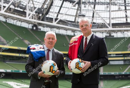 Former Sampdoria player Liam Brady and former Manchester United player Gary Pallister at today's announcement
