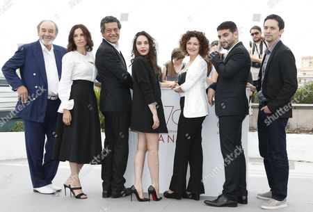 Actor Mohammed Djouhri, French actress Aure Atika, Actor Hassan Kachach, , French actress Hania Amar, Algerian director Karim Moussaoui,   Algerian actress Nadia Kaci  and Mehdi Ramdani poses during the photocall for 'En attendant les Hirondelles' (Until the Birds Return) at the 70th annual Cannes Film Festival, in Cannes, France, 22 May 2017.