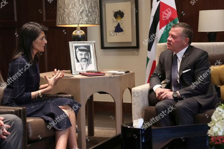 Nikki Haley, left, US ambassador to the United Nations, meets with King Abdullah II of Jordan at the Husseiniyeh Palace in Amman, Jordan on . The U.S. ambassador to the United Nations is pledging additional support for refugees fleeing Syria's long civil war