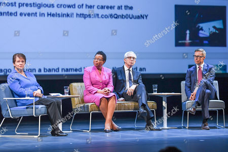 (L-R) Former Norwegian prime minister Gro Harlem Brundtland, Mozambican human rights activist Graca Machel, former Mexican president Ernesto Zedillo and former Finnish prime minister Alexander Stubb attend the 'Wisdom Wanted - CMI and the Elders' seminar in Helsinki, Finland, 22 May 2017. Finish NGO Crisis Management Initiative (CMI) hosted a seminar to discuss ethical leadership and political courage in today's world.
