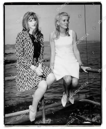 Cannes 1965. Catherine Deneuve and Francoise Dorleac attend at the film festival