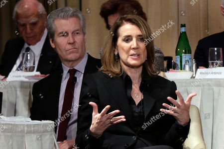 Ruth Porat, Terry Lundgren Alphabet Inc. CFO Ruth Porat, left, is interviewed during a luncheon of The Economic Club of New York, in New York, . The organizations president, Macy's CEO Terry Lundgren, is at left