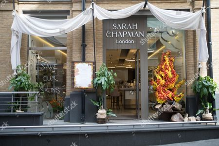 Stock Image of Glorious floral display at Sarah Chapman in Chelsea for this year's 'Floral Safari' themed Chelsea in Bloom, the annual competition organised by Cadogan in association with the RHS Chelsea Flower Show
