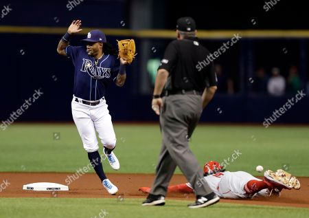 Michael Martinez, Cameron Maybin Tampa Bay Rays second baseman Michael Martinez jumps out of the way of the throw from catcher Derek Norris as Los Angeles Angels' Cameron Maybin steals second base during the first inning of a baseball game, in St. Petersburg, Fla