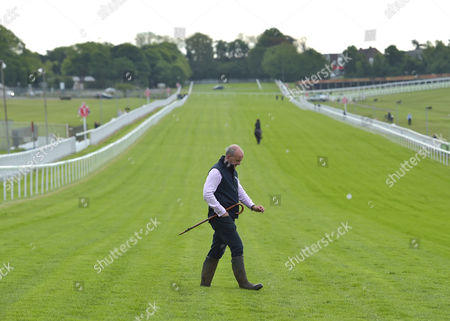 Andrew Cooper, the Clerk of the Course on the gallops at Epsom Racecourse on Tuesday 23rd June 2017, as they prepare for The Derby which will be run on 3rd June.