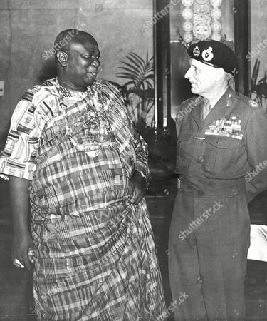 Editorial picture of Field Marshall Lord Montgomery With Oman Hene Of Asin Atandaso Nana Sir Tsibu Darku 1x Obe Kmac Of The Gold Coast At The African Conference In London 1948