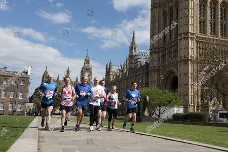 Editorial image of Westminster Mps Who Are Running In Sunday's London Marathon. Alistair Burt Alun Cairns Edward Timpson Dan Jarvis Graham Evans Jamie Reed Amanda Solloway And Simon Danczuk.