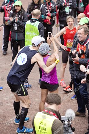 Dame Kelly Holmes Takes A Selfie After Finishing The London Marathon.