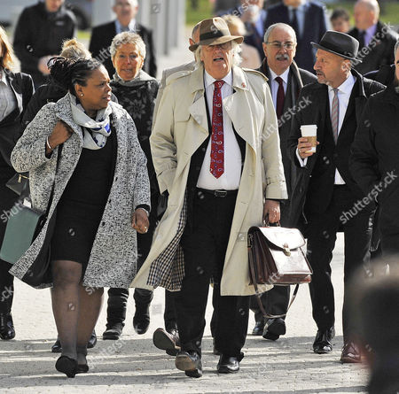 Hillsborough Inquiry: Family Members Celebrate After The Final Verdict On The 96 People Who Died At Hillsborough Stadium Sheffield On 15th April 1989 At The Hillsborough Inquiry Coroners Court Warrington Cheshire. Pic Shows:- Barrister Michael Mansfield Qc (centre).