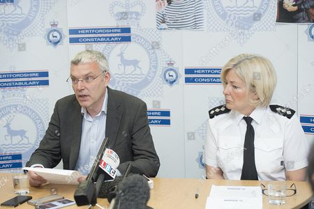 Stock Photo of John Bailey Speaking At A Press Conference At Hitchin Police Station In Hertfordshire With Ci Julie Wheatley Today (11/5/16). John Is The Brother Of Missing Children's Author Helen Bailey Who Went Missing A Month Ago.  Helen Bailey's Body Was Found On 15th July 2016.