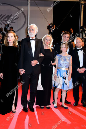 Isabelle Huppert, Michael Haneke, Fantine Harduin, Franz Harduin and Toby Jones