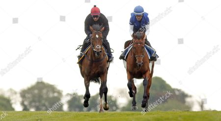 BEST OF DAYS (left, Michael Hills) working at Epsom in preparation for The Investec Derby
