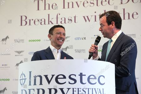 Frankie Dettori speaks to Nick Luck and connections, trainers and media at the iconic Breakfast with the Stars preview of the world famous Classic Derby horse race on the Downs above the town.