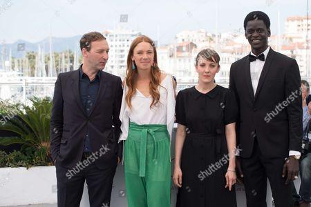 Stock Photo of Gregoire Monsaingeon, Laetitia Dosch, director Leonor Serraille and actor Souleymane Seye Ndiaye