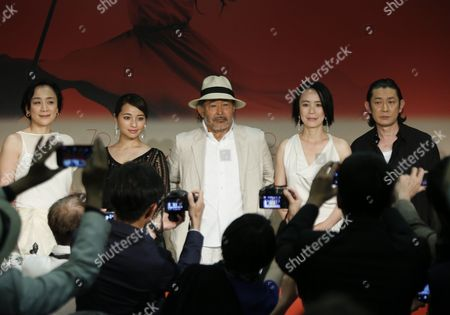 (L-R) Japanese actress Misuzu Kanno, Japanese actress Ayame Misaki, Japanese actor Tatsuya Fuji, 