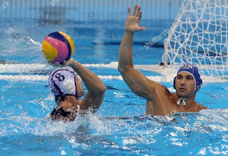 Pietro Figlioli (r) of Italy in Action Against Tony Azevedo of the Usa During the Men's Water Polo Preliminary Round Game Between the Usa and Italy at the Rio 2016 Olympic Games at the Olympic Aquatics Stadium in the Olympic Park in Rio De Janeiro Brazil 14 August 2016 Brazil Rio De Janeiro