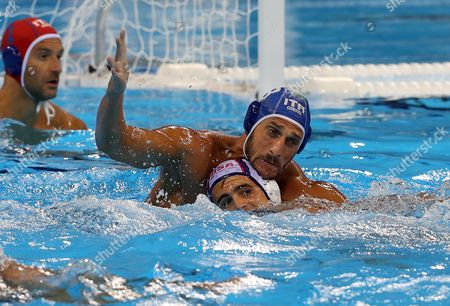 Stock Picture of Niccolo Gitto (top) of Italy in Action Against Tony Azevedo (down) of the Usa During the Men's Water Polo Preliminary Round Game Between the Usa and Italy at the Rio 2016 Olympic Games at the Olympic Aquatics Stadium in the Olympic Park in Rio De Janeiro Brazil 14 August 2016 Brazil Rio De Janeiro