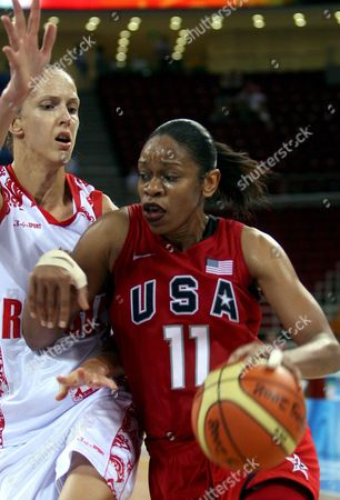 Tina Thompson of the Usa is in Action Against Russia During a 2008 Olympic Games Women's Basketball Semifinal Match in Beijing 21 August 2008 Usa Advances to the Final by Beating Russia 67 to 52 China Beijing