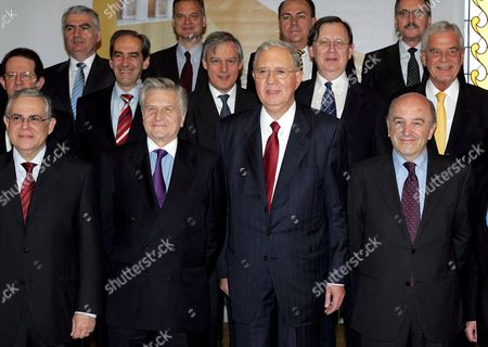 Representatives of European Banks Pose For the 'Family Photo' Prior a European Central Bank Governing Council Meeting Held in Athens on 08 May 2008 First Row: Lucas Papademos (1st L) Jean Claude Trichet President (2nd L) Nicholas Garganas (3d L) Jose Joaquin Almunia Eu Commissioner (4th L) Second Row: Klaus Liebscher (1st R) Nout Wellink (2nd R) Christian Noyer (3d R) Jose Manuel Gonzalez-paramo (4th R) Vitor Constancio (5th R) Third Row: Athanasios Orphanides (1st L) Lorenzo Bini Smaghi (2nd L) Alex a Weber (3d L) Jurgen Stark (4th L) Greece Athens