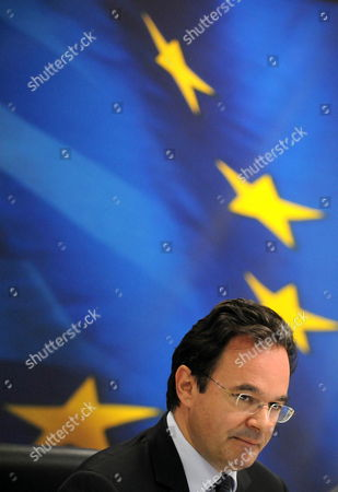 Finance Minister Giorgos Papakonstantinou Gives a Press Conference in Athens on 05 July 2010 Regarding the Progress and the Results For the First Semester of the Austerity Measures Taken by the Government and the Further Planning of Actions the Greek Government Announced a Second Round of Austerity Measures in a Continuing Bid to Slash the Country's Double-digit Budget Deficit by a Now Eu-mandated Four Percentage Points Greece Athens